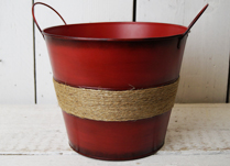 Red Zinc Bucket with Ears and Hessian Rope