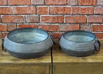 Set of Two Metal Bowls with Ring Handles