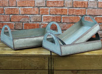 Whitewashed Zinc Garden Trays