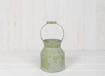 Small Green Metal Churn with Floral Design