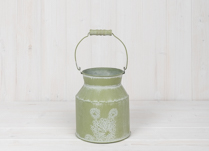 Green Metal Churn with White Floral Design