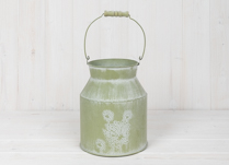 Green Zinc Churn with Floral Design