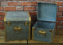 Set of Two Grey Metal Chest Boxes