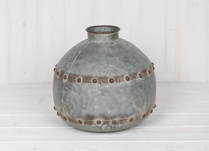 Small Grey Spherical Vase with Aged Highlights