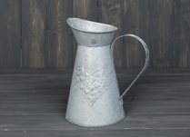 Zinc Jug with Embossed Heart