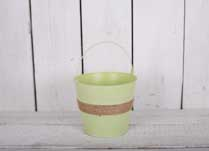 Small Zinc Green Bucket with hessian band