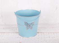 Small Zinc Blue Bucket with Butterfly Detail