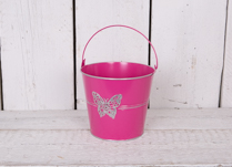 Small Zinc Cerise Bucket with Butterfly detail