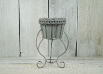 Antique Grey Planter on Decorative Stand