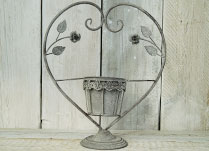 Antique Grey Planter on Decorative Heart Stand
