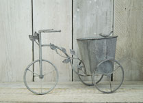 Antique Grey Tricycle Planter