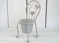 Antique Grey Metal Planter in the Shape of a Chair with Heart Decoration