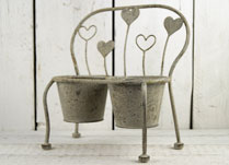 Antique Grey Metal Planter in the Shape of a Bench with Heart Decoration
