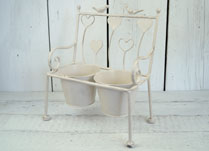 Cream Metal Bench Planter with Heart Decoration