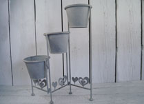 Three Tiered Pot Stand in Antique Grey Metal