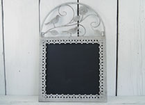 Pretty Antique Grey Metal Frame with Bird Decoration and small Blackboard