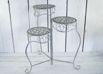 Antique Grey Metal Plant Stand