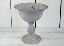 Antique Grey Metal Planter with Bird Decoration