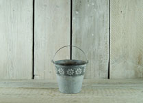 Embossed Zinc Bucket with Daisy Decoration