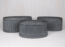 Set of Three Ribbed Oval Planters