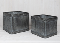 Set of Two Square Ribbed Planters 30 cm