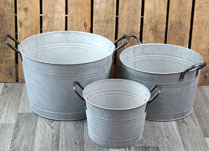 Set of Three Aged Zinc Buckets