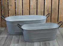Set of Two Aged Zinc Troughs