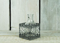 Glass Bottle in Filigree Metal Basket