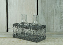 Two Glass Bottles in Filigree Metal Basket