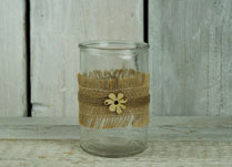 Glass Jar with Hessian or Jute Ribbon and Cream Wood Flower