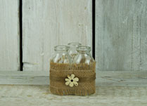 Trio of Bottles in Hessian Ribbon and Cream Wood Flower