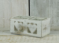 Whitewashed Wooden Heart Tealight Holder