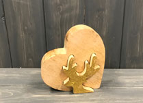 Small Wooden Heart Gold Leaf Reindeer