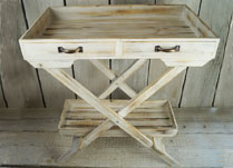 Whitewashed Wooden Display Table