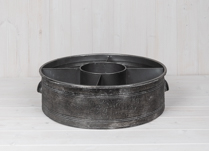 Large Round Metal Tray with Dividers