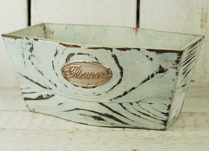 White Tapered Wooden Trough with Flowers Badge