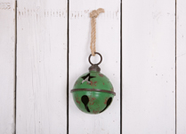 Green Metal Large Bell Bauble with Star Design