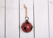 Red Metal Large Bell Bauble with Star Design
