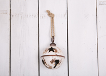 Large White Metal Bell Bauble with Star Design