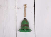 Green Rustic Large Metal Bell I Hanging or Stand alone