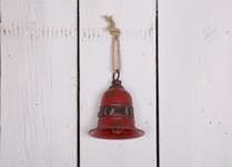 Large Red Rustic Metal Bell Decoration