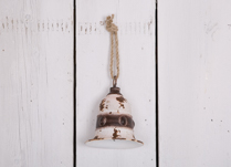 White Large Rustic Metal Bell Decoration