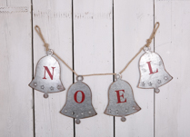 Metal Noel Garland with Silver Bells and Red Noel writing 100cm Long