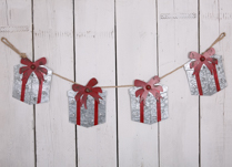 Metal Gift Box Garland with Silver Box and Red Bow at 137cm