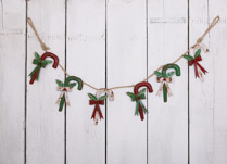 Metal Candy Cane Garland with Green, Red and White Candy Canes