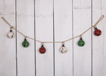 Metal Bell Garland with Six bells in green, red and white