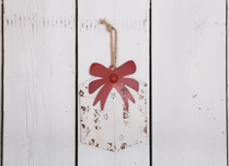 White Metal Hanging  Gift Box with Red Ribbon