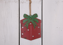 Red Metal Hanging Gift Box with Green Ribbon