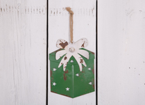 Green Metal Hanging  Gift Box with White Ribbon