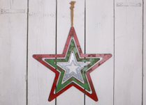 Red, Green and Silver Cut out Hanging Metal Star